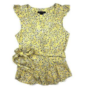 French Connection Yellow Floral Ruffle Top